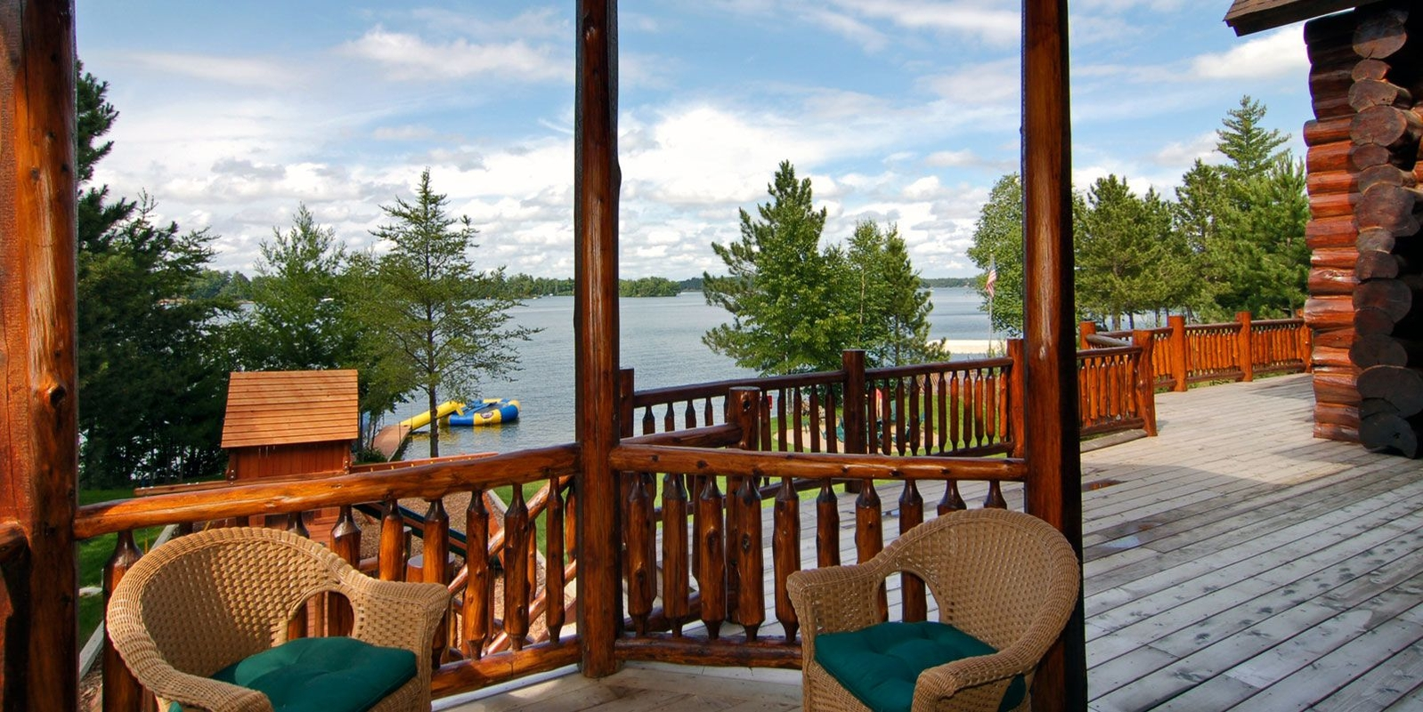 Porch with a waterfront